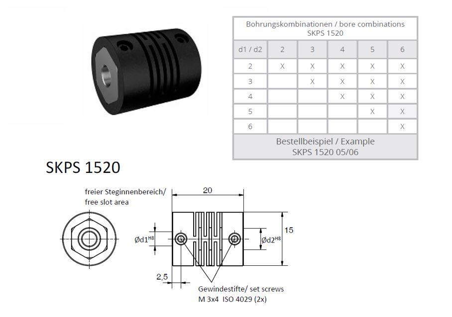 SKPS 1520 kruis koppeling (polymeerkoppeling)