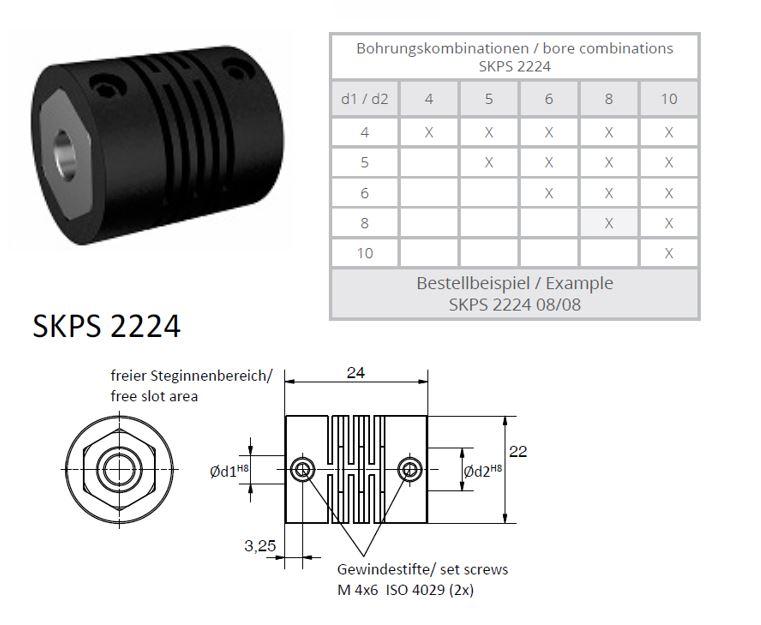 SKPS 2224 kruis koppeling (polymeerkoppeling)