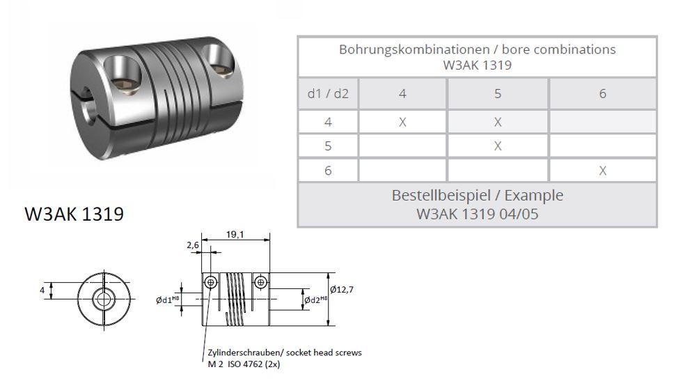W3AK 1319 Heavy Duty Spiraal koppeling