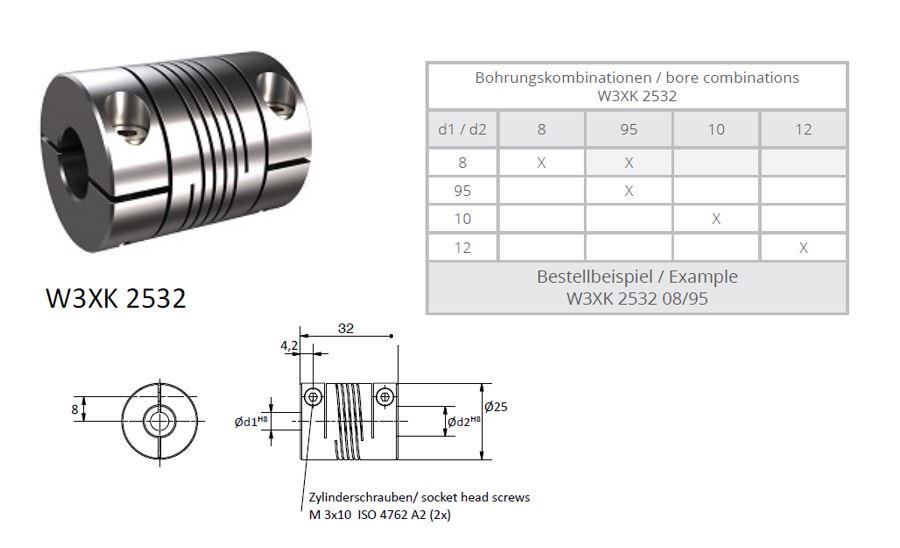 W3XK 2532 Heavy Duty Spiraal koppeling