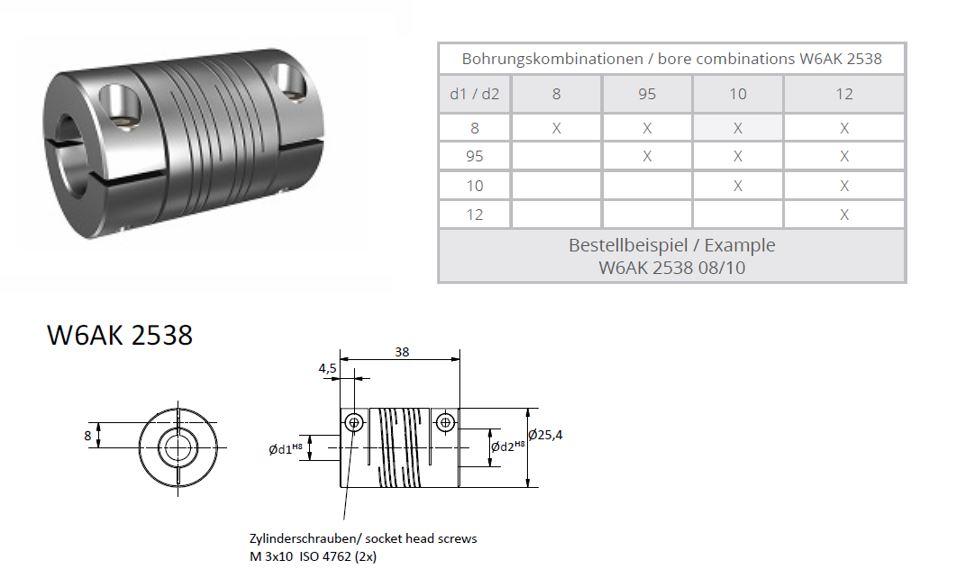 W6AK 2538 Heavy Duty Spiraal koppeling (2x triple thread)