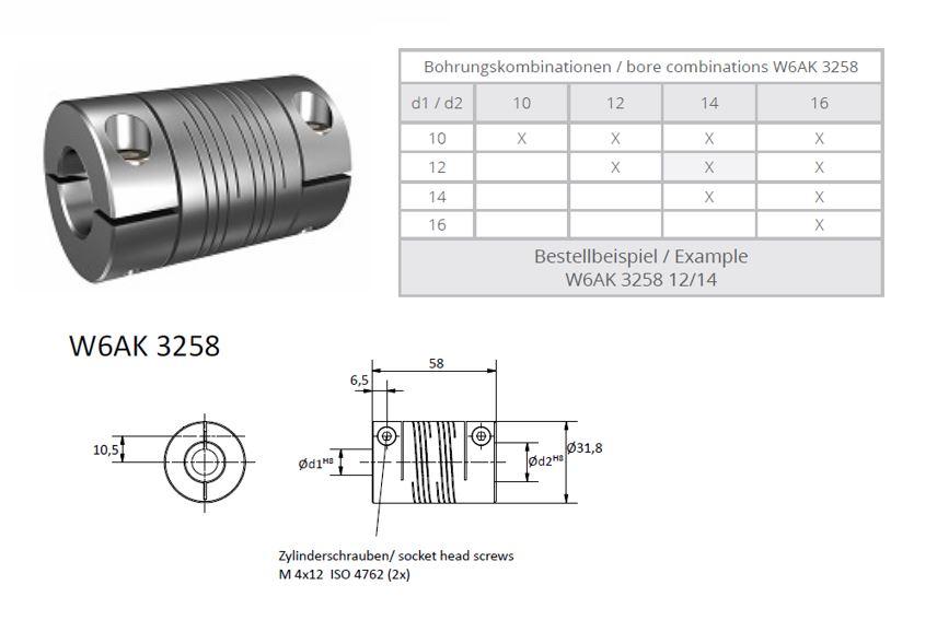 W6AK 3258 Heavy Duty Spiraal koppeling (2x triple thread)