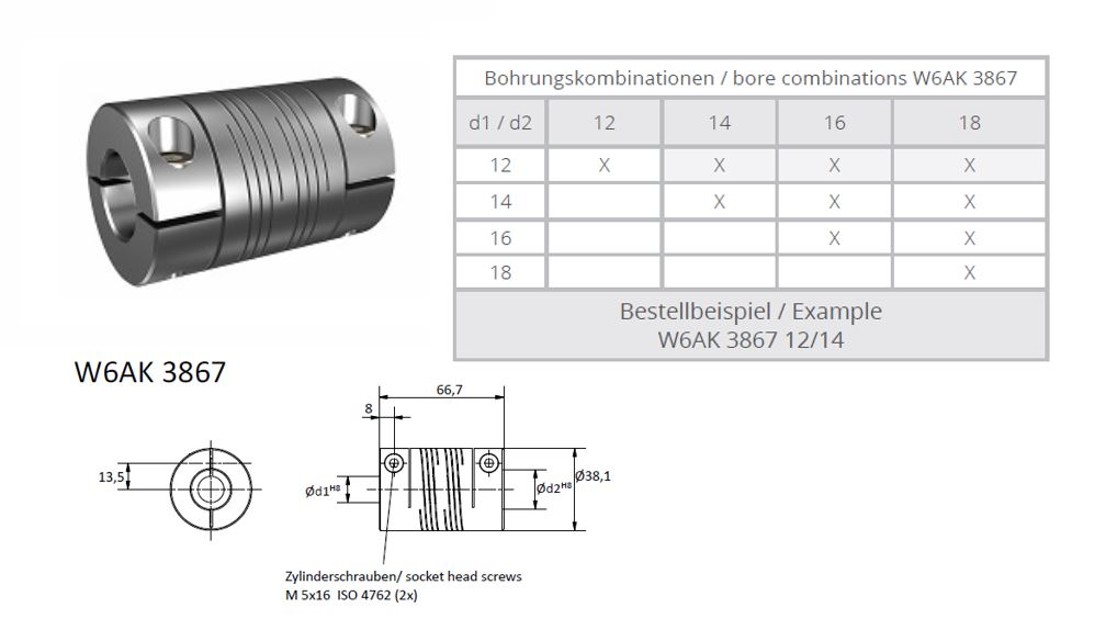 W6AK 3867 Heavy Duty Spiraal koppeling (2x triple thread)